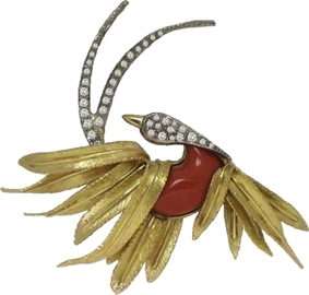 Broche oiseau tourmaline et diamants